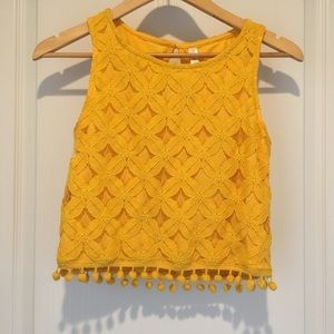 Yellow Xhilaration lace tank top